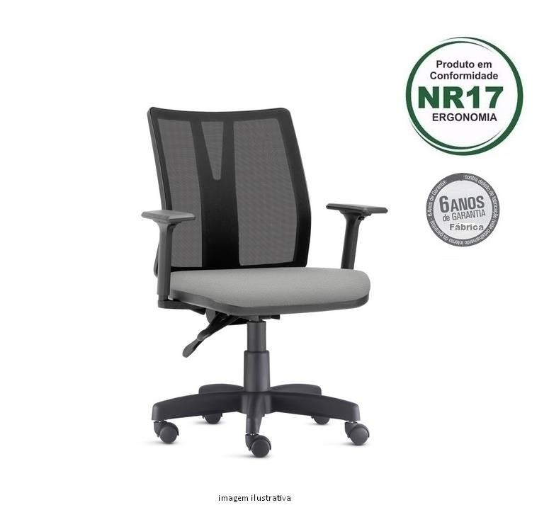 Cadeira Addit Ergonomica Giratoria revestimento cinza - Norma de Ergonomia NR 17