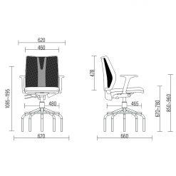 Cadeira Caixa Addit Alta medidas 247x247 - Cadeira Caixa Addit Ergonômica Cinza aro Alta