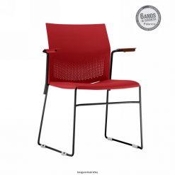 Cadeira Connect Vermelha com bracos 247x247 - Cadeira fixa Connect com braços