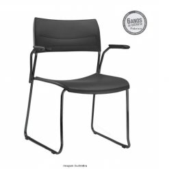 Cadeira Nina fixa preta com bracos 247x247 - Cadeira fixa Nina com braços