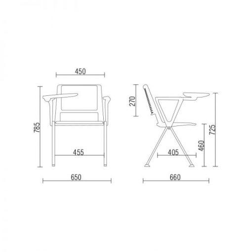 Cadeira Up com prancheta medidas 510x510 - Cadeira UP Universitária Prancheta Escamoteável