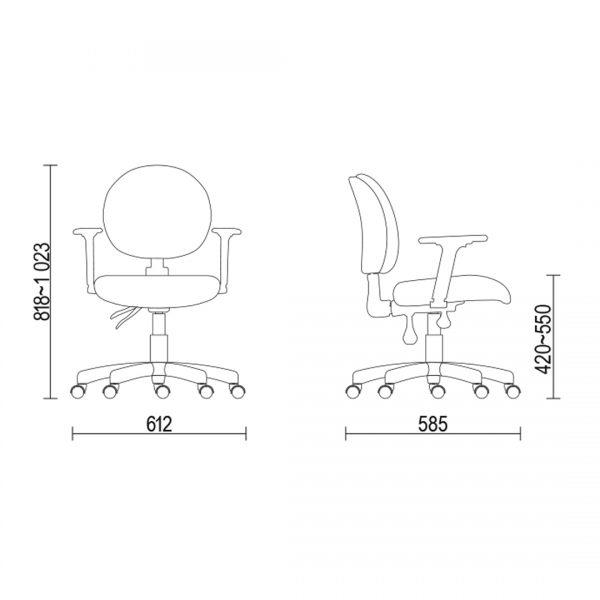 Cadeira ergonomica 323 medidas - Cadeira 323 Executiva Giratória Ergonômica com braços