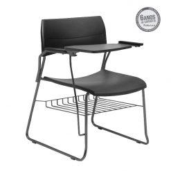 cadeira universitaria nina fixa com porta livros preta 247x247 - Cadeira Universitária Nina com prancheta escamoteável