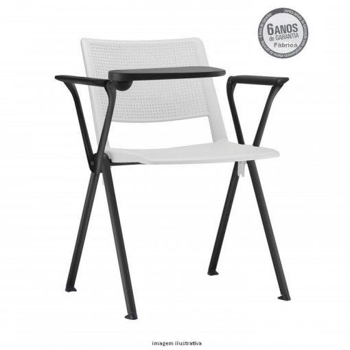cadeira universitaria up branca estrutura preta 1 510x510 - Cadeira UP Universitária Prancheta Escamoteável