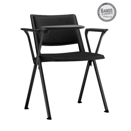 cadeira universitaria up preta estofada estrutura preta 1 510x510 - Cadeira UP Universitária Prancheta Escamoteável