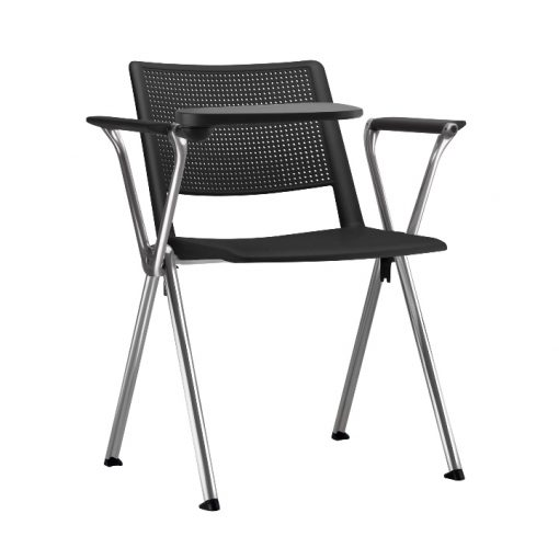 cadeira universitaria up preta estrutura cromada 1 510x510 - Cadeira UP Universitária Prancheta Escamoteável