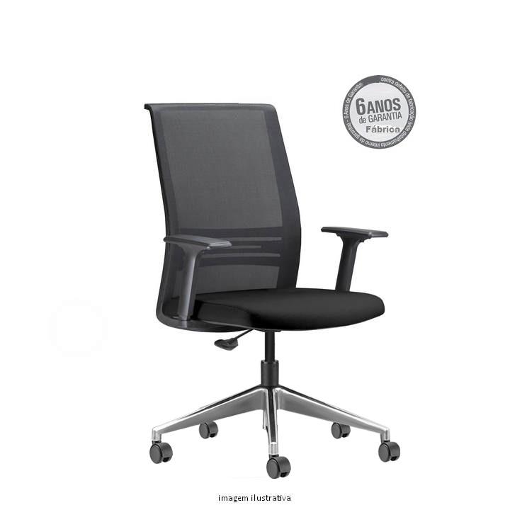 Cadeira Agile Presidente cromada sem apoio de cabeça - Poltrona Presidente Agile  Fixa