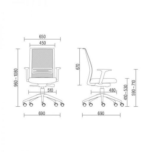 Cadeira Agile com sem apoio de cabeça medidas 510x510 - Poltrona Presidente Agile