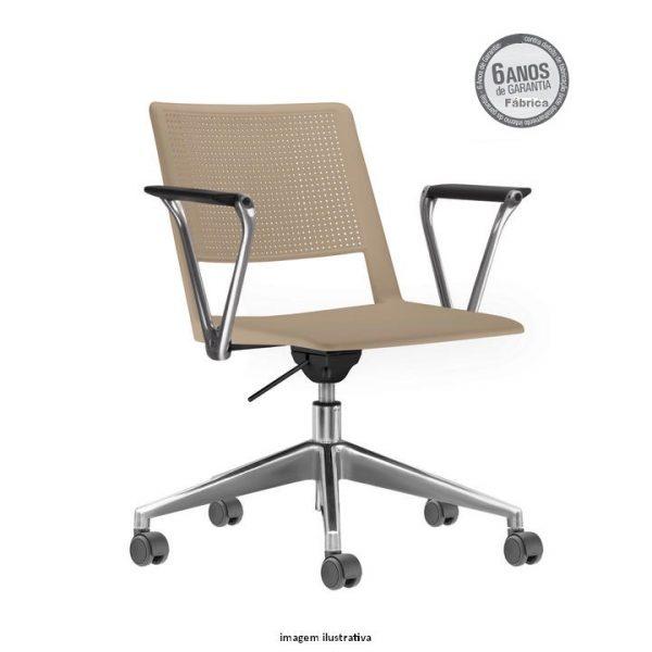 Cadeira Up giratoria com bracos areia 600x600 - Cadeira UP Giratória com braços