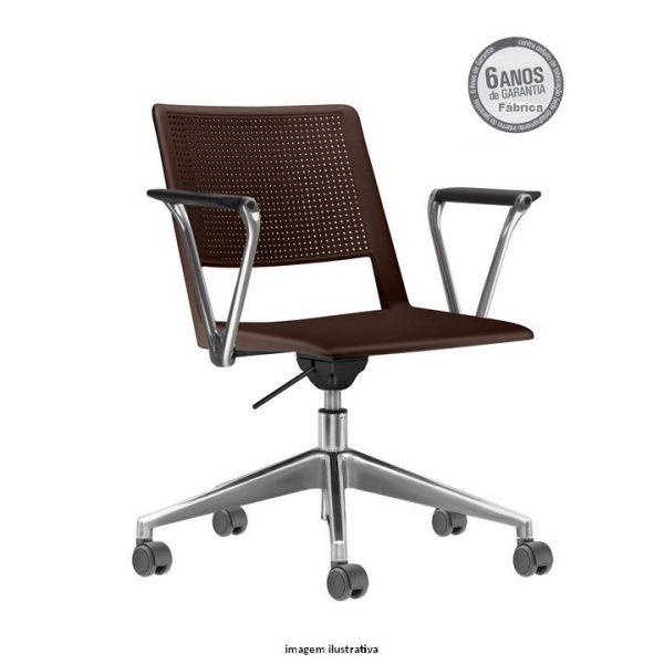 Cadeira Up giratoria com bracos café 600x600 - Cadeira UP Giratória com braços