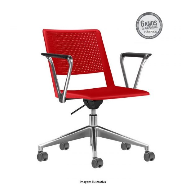 Cadeira Up giratoria com bracos vermelha 600x600 - Cadeira UP Giratória com braços