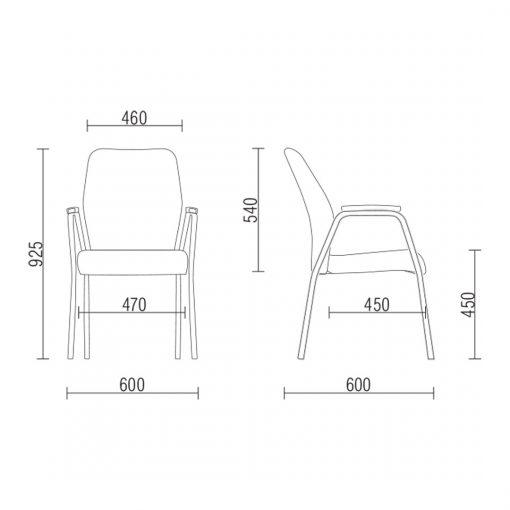 Cadeira Pointer Presidente diretor fixa preta medidas 510x510 - Cadeira Pointer Premium Diretor Fixa