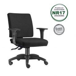 Cadeira Simple Diretor com bracos preta 247x247 - Cadeira Simple Executiva Giratória Ergonômica