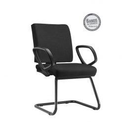 Cadeira Simple Operativafixa com bracos preta 247x247 - Cadeira Simple Executiva Fixa com braços