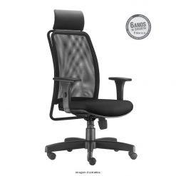 Cadeira Soul Presidente com bracos preta com apoio de cabeca 247x247 - Cadeira Soul Presidente Giratória com Apoio de Cabeça
