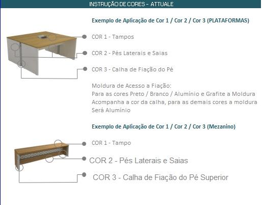 Instrução de Cores para Linha Plataformas Attuale - PLATAFORMA DE TRABALHO ATTUALE RETA DUPLA