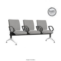 Longarina Simple com 3 lugares pes retos com bracos aluminio 247x247 - Longarina Simple Executiva com 3 lugares com braços