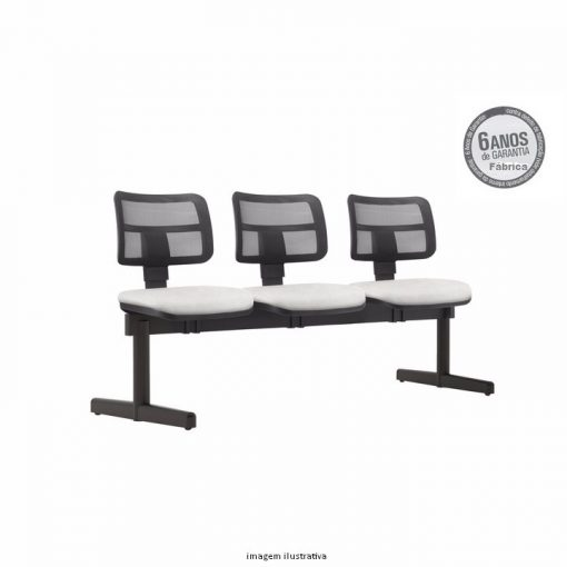 Longarina Zip 3 lugares tela pe reto sem bracos 510x510 - Longarina Zip Executiva com 3 lugares sem braços