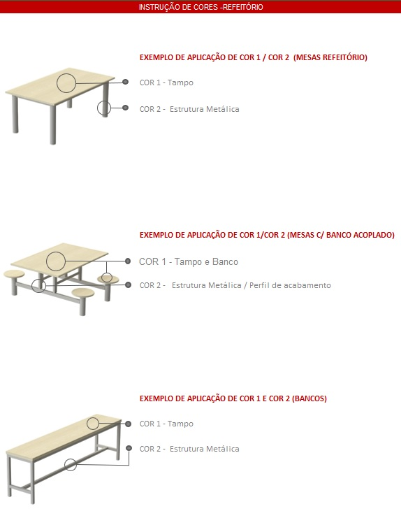 Mesas para Refeitorio Instrução de Cores - MESA PARA REFEITÓRIO 6 LUGARES COM BANCOS INDIVIDUAIS