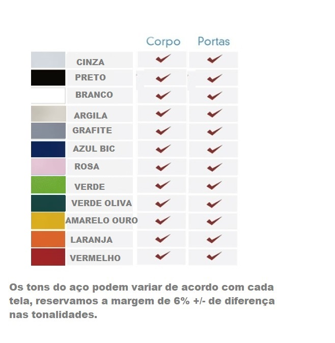 Opções de cores para móveis de aço 1 - ESTANTE DE AÇO