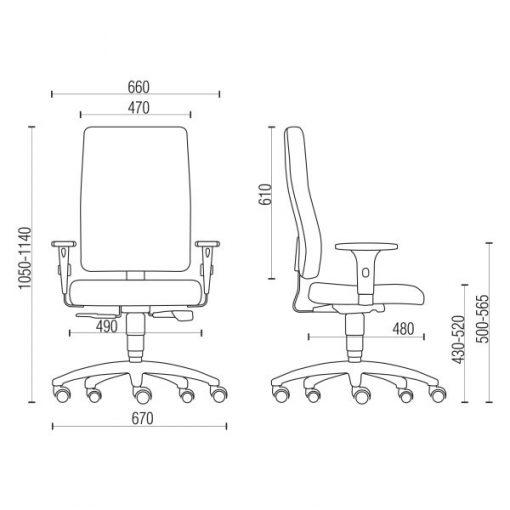 Cadeira Sephia presidente medidas 510x510 - Cadeira Sephia Presidente Giratória