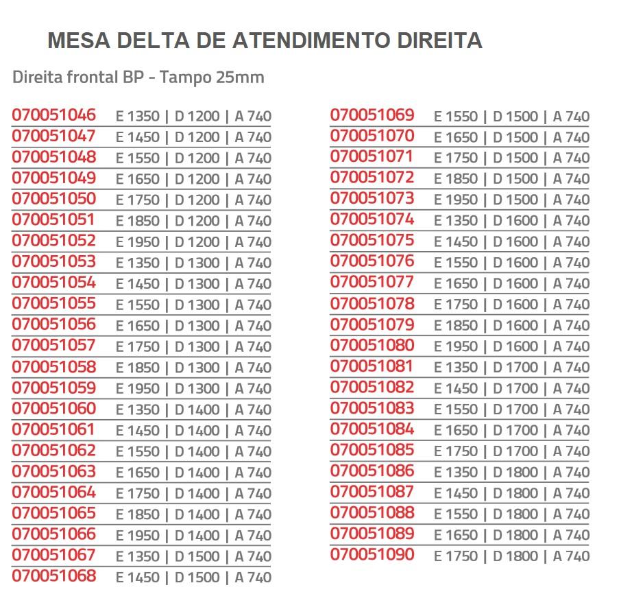 mesa delta de atendimento direita romanzza plus - Mesa Delta de Atendimento Direita Romanzza Plus 25 mm Saia de Madeira