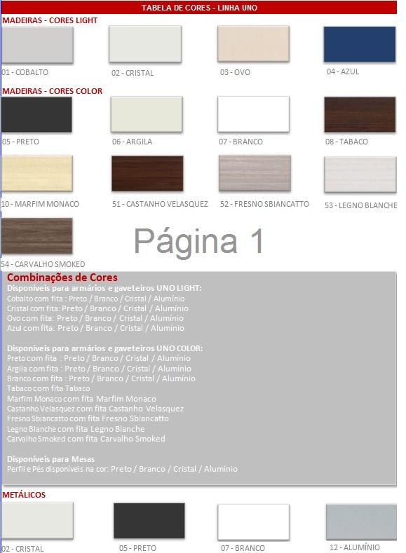 opções de cores linha uno e composições - ESTAÇÃO DE TRABALHO UNO EM ILHA