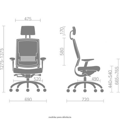 Cadeira Fit Air medidas 510x510 - Poltrona Fit Air Sittz com apoio de cabeça