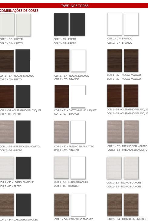 Opções de cores - MESA DIRETOR RETA PRIMA IMPACT 40
