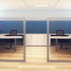 DIVISORIAS DE AMBIENTE COM PERFIL METALICO E VIDRO 247x247 - Divisória de ambiente linha Quadratto 70 mm com espaço para colocar vidros